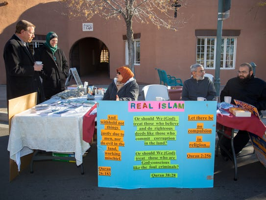 Members of the Las Cruces Muslim community set up a