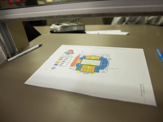 A seat map for the  NOVA Home Loans Arizona Bowl, sits