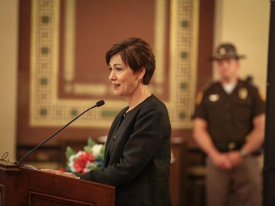 Iowa Gov. Kim Reynolds speaks during the Iowa peace