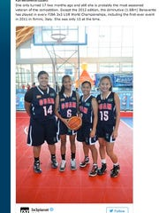 "Guam's team featured on the International Basketball Federation's website. FIBA named team member Kali Benavente as a potential ""star of tomorrow."""