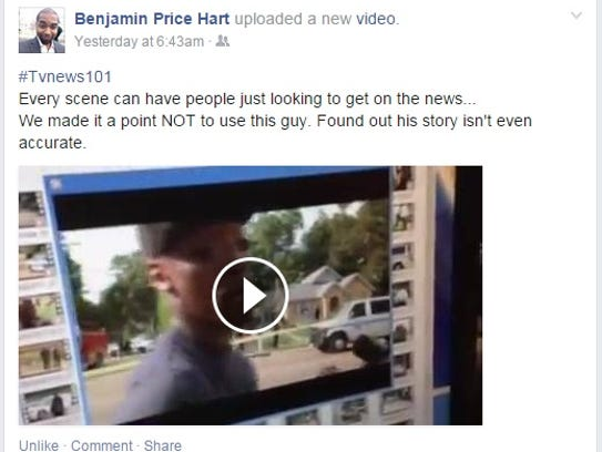 Wapt news director ben hart said in a facebook post that the station