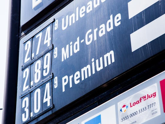 Loaf 'n Jug's gas prices are displayed on its sign