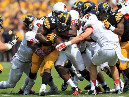 Iowa running back LeShun Daniels, Jr. gets brought