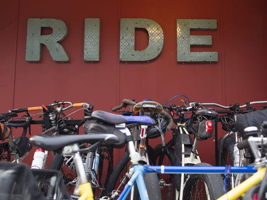Bicycles stack up outside RIDE on Thursday. Bicycles