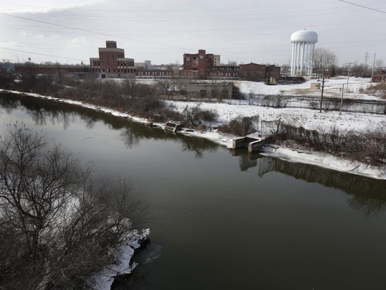 A view of the Flint River and the Flint Water Plant