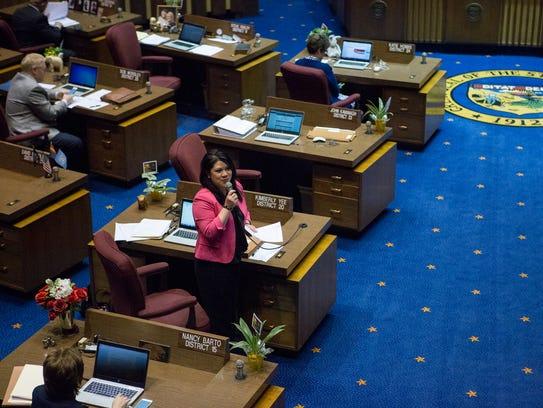 State Sen. Kimberly Yee speaks on the floor of the