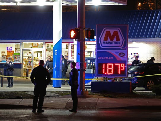 The scene of an officer-involved shooting at the Marathon