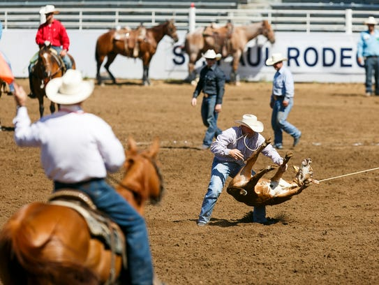 Justin Brinkerhoff of Corinne, Utah, ropes a calf in