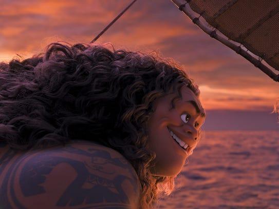 Demigod Maui (voice of Dwayne Johnson) and Moana (voice
