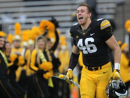 Iowa senior George Kittle is honored prior to the Hawkeyes'