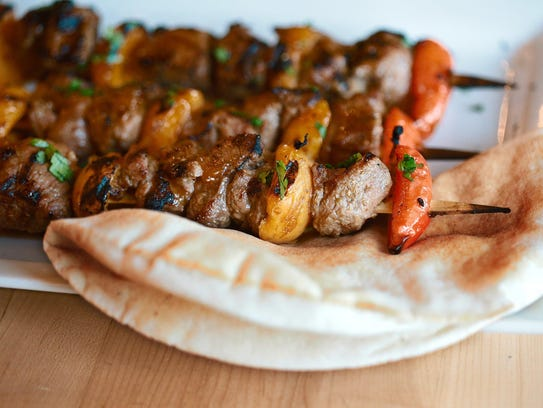 Apricot Lamb Kebobs from the grill at the Great Lakes