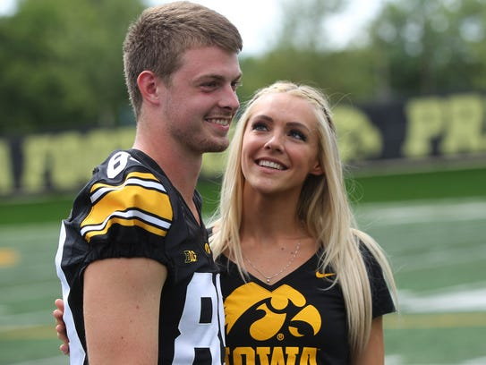 Iowa wide receiver Matt VandeBerg and his wife, Laura,