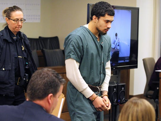 Andreas Erazo arrives in State Superior Court in Freehold
