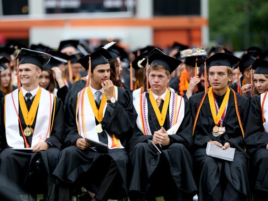 Graduates attend the Sprague High School commencement