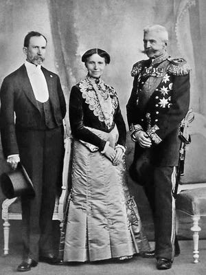 Former Monmouth resident Benjamin Tillinghast, left, poses with Red Cross Founder Clara Barton and Russian Admiral Nikolai Kaznakoff at the 1902 Red Cross Congress in St. Petersburg.