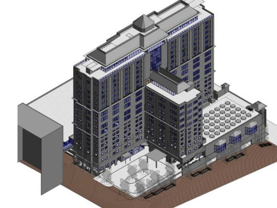 A rendering of Washington Square, a proposed 15-story,