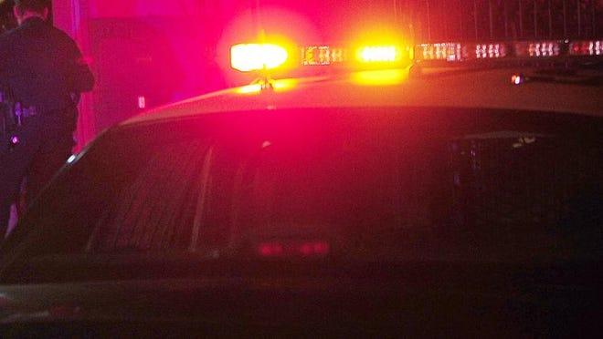 File - Police lights at night