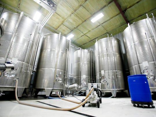 Some of Bold Rock Hard Cider's fermentation tanks in