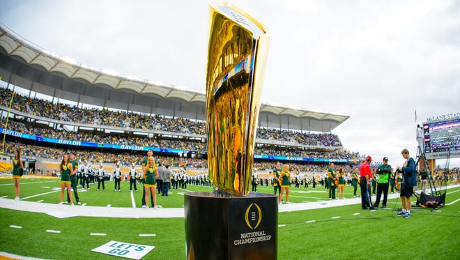 A view of the college football playoff national championship trophy.