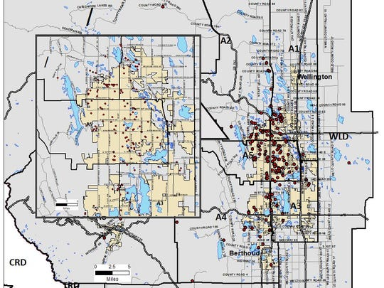 A map shows locations where individuals reported being contacted by someone claiming to be from the Larimer County Sheriff's Office as part of a scam.