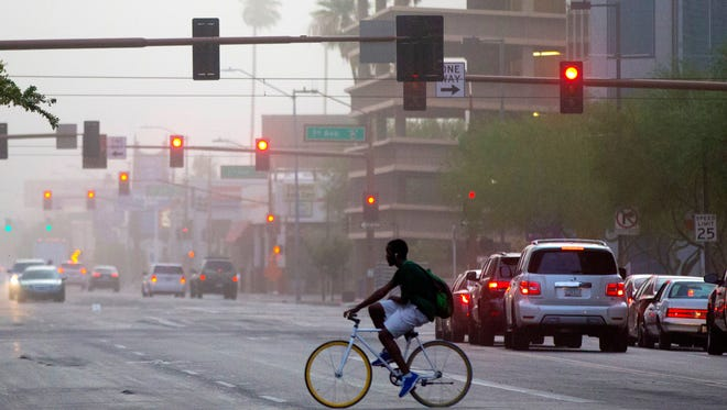 Dust hits downtown Phoenix on Aug. 2, 2018.