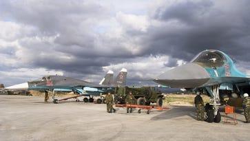Russian bombers at Hemeimeem air base in Syria on Jan. 20, 2016.