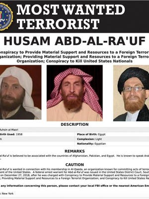 This image released by the FBI shows the wanted poster of al-Qaida propagandist Husam Abd al-Rauf, also known by the nom de guerre Abu Muhsin al-Masri. Afghanistan claimed Sunday, Oct, 25, 2020, it killed the top al-Qaida propagandist on an FBI most-wanted list during an operation in the country's east, showing the militant group's continued presence there as U.S. forces work to withdraw from America's longest-running war amid continued bloodshed. Al-Qaida did not immediately acknowledge al-Rauf's reported death. The FBI, the U.S. military and NATO did not immediately respond to requests for comment.