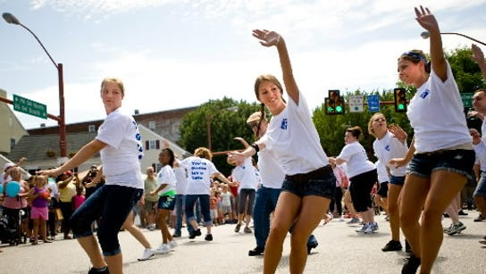 Girls dance in a Hanover flash mob last year during