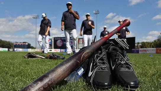 Members of the Yankees stretch in Tampa, Fla., during