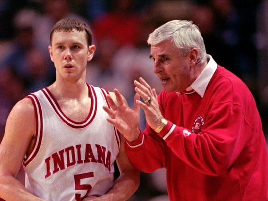 Indiana coach Bobby Knight talks with Neil Reed during a NCAA Tournament game against Colorado at Joel Coliseum in this March 13, 1997.