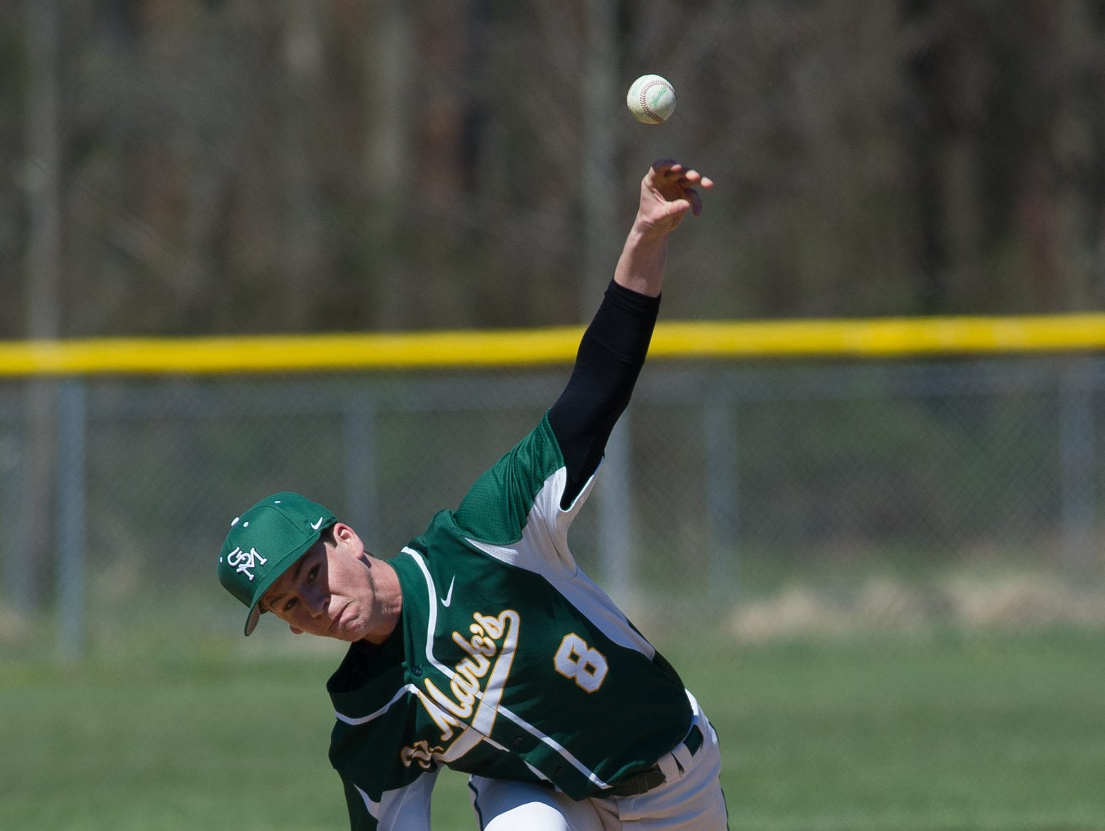 St. Mark's pitcher Sean Gilardi (8) throws the ball in the 2nd inning against Caesar Rodney.