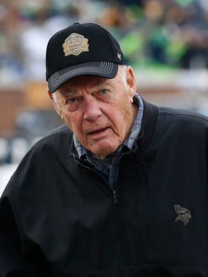 FILE - Former Minnesota Vikings head coach Bud Grant watches before an NFL football game against the Seattle Seahawks, Sunday, Dec. 6, 2015 in Minneapolis. Now retired and living in Minnesota, Grant recently survived a potential disaster in a small plane on his way to a Canadian duck hunting trip in northern Saskatchewan. He was with his longtime pilot pal Jim Hanson, who was planning to clear customs and refuel at the Regina International Airport. (AP Photo/Ann Heisenfelt)