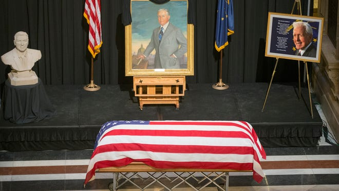 "In the Statehouse where he served as governor from 1969 to 1973, dignitaries, family and friends hailed Edgar Whitcomb as a ""Hoosier hero"" in a final farewell Friday, Feb. 12, 2016. Whitcomb died Feb. 4 at the age of 98."