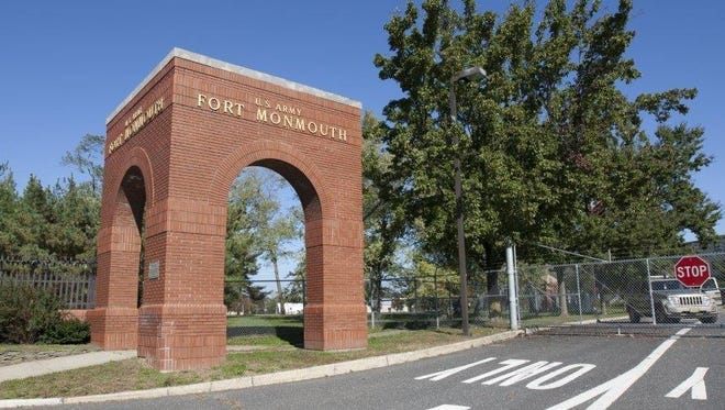 The arches at the entrance of Fort Monmouth from Route 35 in Eatontown.