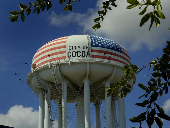 The City of Cocoa water tower is decked out in its