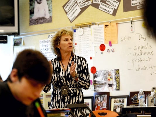 Barb Mellinger, an English teacher at Palmyra Area High School, teaches a ninth grade English class on Thursday. She also is an instructor in the school district's six-week SAT prep class that meets on Mondays from 6 to 9 p.m.