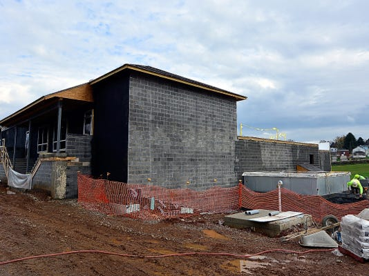 Construction continues Thursday at the Leg Up Farmers Market at 3100 N. George St. in Manchester Township. The market, which will feature natural foods, local produce and local meats, is slated to open in early February.