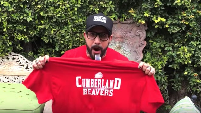 Backstreet Boys band member AJ McLean announces a snow day for the Cumberland School District in this screenshot from the video.