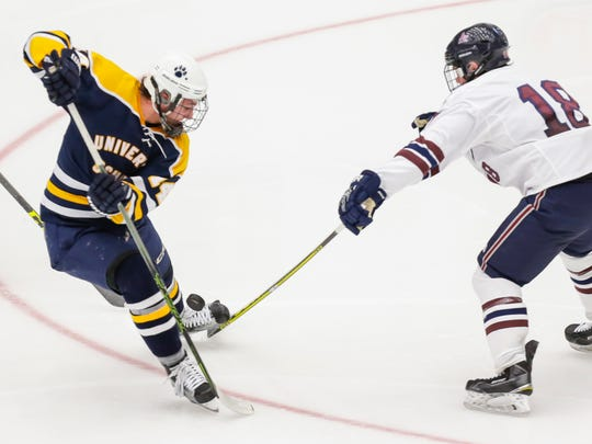 Logan Geisness (left) earned first-team all-area last season after leading University School with 46 points (14 goals, 32 assists).