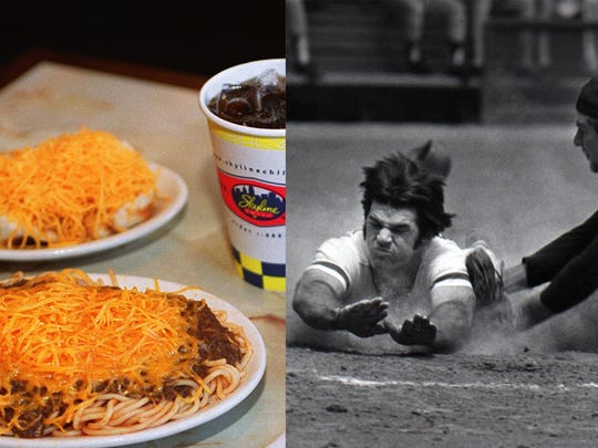Skyline Chili and Pete Rose dives toward home plate August 15, 1984.