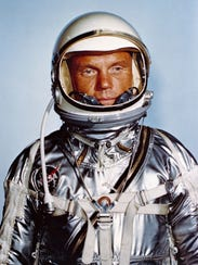 Astronaut John Glenn in his Mercury flight suit.