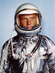 Astronaut John Glenn in his Mercury flight suit.
