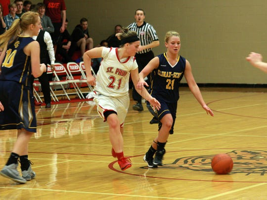 St. Philip's Nina Winkler  plays defense in action