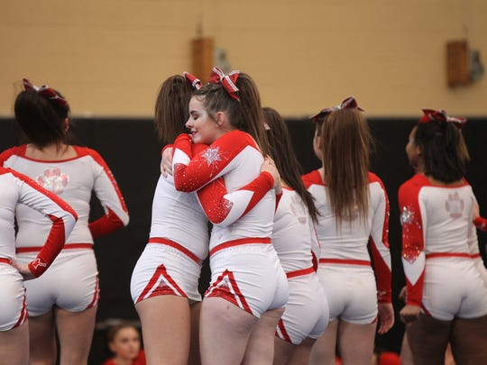 North Rockland High School competes in the section 1 cheerleading championships at White Plains High School in White Plains on Saturday, February 18, 2017.