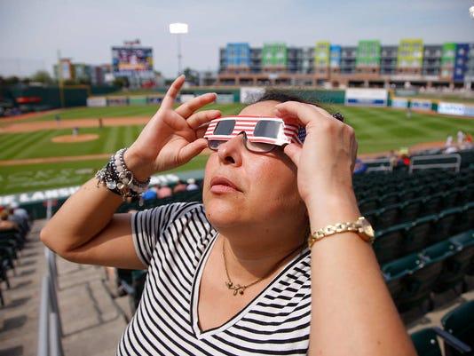 Eclipse viewing at Lansing Lugnuts game