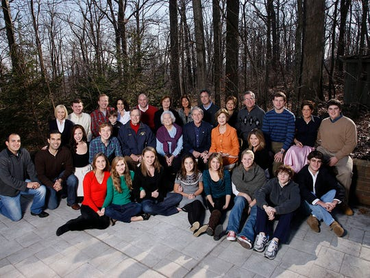 The Bush family gathers at Camp David, Maryland, on Dec. 25, 2008.