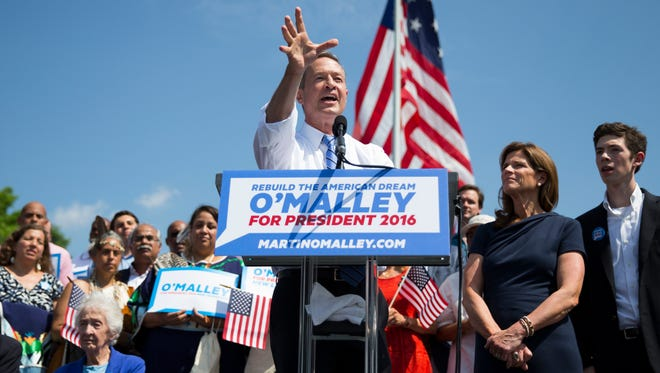 Martin O'Malley speaks during his campaign announcement event on May 30, 2015, in Baltimore.