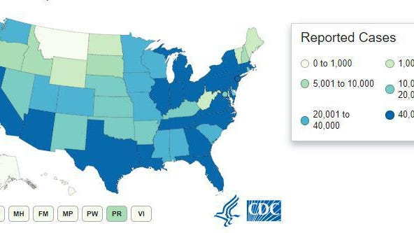 This map shows COVID-19 cases and deaths reported by U.S. states, the District of Columbia, New York City, and other U.S.-affiliated jurisdictions. Provided by the CDC.