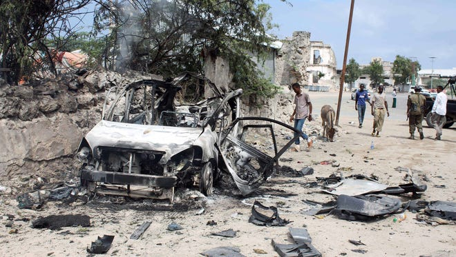 A suicide car bomber detonated an explosives-laden vehicle at the gate of Mogadishu's Godka Jilacow prison on Aug. 31, 2014.