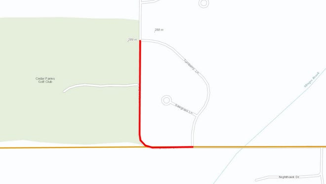 Portions of South Helmer Road and Division Drive will be closed Tuesday.